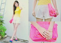 Wulan Wu - Bellast Jewelry, Romwe Embossed Shorts - Dear CMY and Neon