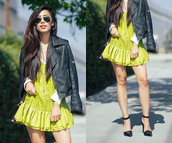 Jenny Ong - Lovers + Friends Lace Dress, Ray Ban Aviators, Alexander Wang Lovisas - In Lime