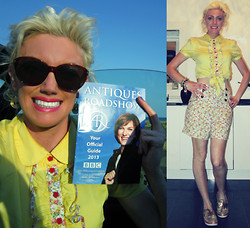 Roxanne Rokii - Rokii Vintage 1970's Sunglasses, Friday On My Mind Yellow Frill Blouse Ss11, Rimmel Kate Moss Pink Lipstick   £3.50, Friday On My Mind Floral High Waisted Shorts Ss11, River Island Gold Boaties Ss12 - 06-06-13 - The Antiques Roadshow - Portsmouth Marines Museum