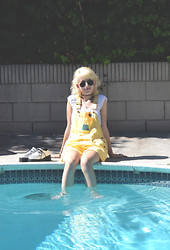 Flower Perdew - Shop Till You Drop Overalls, T.U.K. White Creepers, Sun Thrift Vintage 90s Top, Pretty Penny Round Sunglasses - Poolside Chillin