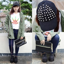 Marion Uy - Call It Spring Spiked Snap Back, Chic Wish Army Green Parka, Chic Wish Black Suede Creepers, Sheinside Rasta Weed Shirt - As gloomy as the weather