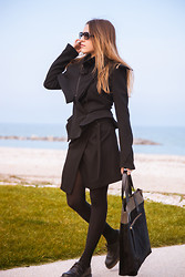 Lucrezia Mancini - Ann Demeulemeester Jacket, Ann Demeulemeester Skirt, Dr. Martens Shoes, Dries Van Noten Bag, Marni Sunglasses - A BLACK LOOK