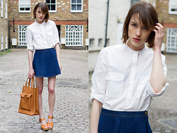 Ella Catliff - Gap Swiss Dot Shirt, American Apparel Denim Skirt, French Connection Uk Camel Bag, Gap Wedges - Styld.by Gap x Lookbook.nu: Swiss Dot Shirt