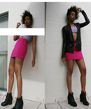 Aicha R. - Preen Line Studded Leather Blazer, Josh Goot Mini Skirt, Jeffrey Campbell Black Wedge - Don't Care