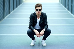 Zygintas Skardziukas - Sunglasses, All Saints Leather Jacket, Cheap Monday Skinny Jeans, Converse Low Tops - Black skinhead