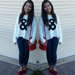 Anna Ordonez - Supre Knitted Jumper, American Apparel Jeggings, Cotton On Red Flats - &