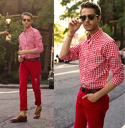 Adam Gallagher - Check Shirt, Red Trousers, Ray Ban Clubmasters, Giles And Brother Spike Bracelet, Similar Here  > Oxfords - Red Hot