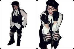Damien Ferne - Primark Leatherette Baker Boy Hat, Homemade Shirt, Primark Leather Gloves, Spider Knee High Socks, Shoezone Boots, Stripey Tights, Corset, Raven Waistcoat - Black & White