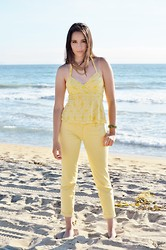 Brigitte Bell - Anthropologie Yellow Halter Top, Loft Yellow Capri Pant, From Panama Emerald Green Hand Made Panamanian Bracelet - Cayo Coral