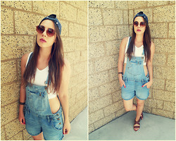 Emma C - Lei Overall, H&M Snapback, Thrift Crop Top - Sweet Denim Overall.
