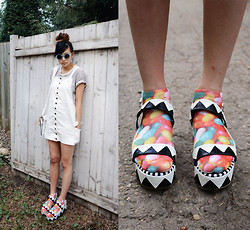 Alyssa Lau - Style Moca Painter Dress, Choies Sandals, Imomoi Striped T Shirt, Tarte Jelly Sunglasses, Nasty Gal Candy Rush Socks - I got a bottle of cheap jug wine