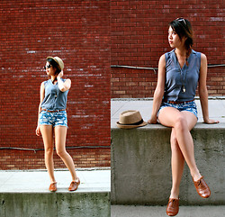 Kathy C. - Bdg Straw Bowler Hat, H&M Slate Sleeveless Top, Forever 21 Floral Shorts, Aldo Brown Oxfords, Clock Locket - Shaded Slate