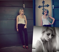 Astrid Baudelaire - Nine West White Blouse, Forever 21 Black Pants, Zara Studded Belt - Blondie