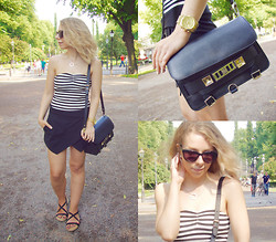 Maria Morri - Proenza Schouler Shoulder Bag, H&M Sun Glasses, Zara Skort, Gina Tricot Strapless Top, Efva Attling Necklace, Michael Kors Watch, Asos Sandals - Mr Gay Finland 2013 -outfit