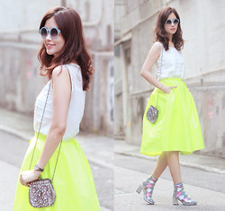 Mayo Wo - Chic Wish Candy Sunnies, Romwe Lace Back Top, Choies Fluo Midi Skater Skirt, Ipa Nima Glitzy Purse, Choies Perspex Heels - Fluo flouncy