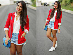 Nydia Enid - Zara Red Blazer, Steve Madden Blue Satchel, Forever 21 White Lace Collar Top, Forever 21 Denim Shorts - Red, white and blue