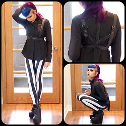 Heather H - Romwe Dual Tone Opaque Styling Black Shirt, Romwe Black Fake Leather Strap Top, Romwe Black White Stripe Leggings, Jeffrey Campbell Damsel - Harnessed Gothic Chic