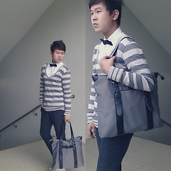 Anthony Shieh - Folded & Hung Scoop V Neck Pullover, Armando Caruso Bowtie, H&M Shirt, Salvatore Mann Tote Bag, Oxygen Slacks, Converse Sneakers - Let the pieces fall into place and you'll be fine.