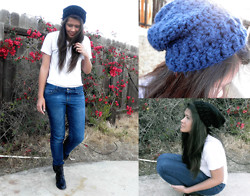 Renee Schmee - Renee's Crochet Flambé Black Beanie, Renee's Crochet Flambé Blue Beanie, Aldo Black Ankle Boots, Blue Jeans, Hanes White V Neck - Beanies Galore: Handmade By Yours Truly (on Etsy!)