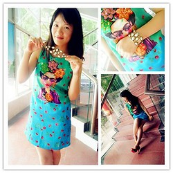 Poppy Lee - Wholesale7 National Style Beauty Print Casual Tank Dress, Wholesale7 New Fashion Hollow Out Beaded Bracelet - Summer tank dress