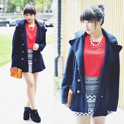 Rachel Koh - Nafnaf Winter Coat, Topshop Blouse, Bimba And Lola Clutch, Underground Creeper Wedges - Colder days