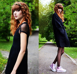 Ebba Zingmark - 5preview Coat, Motel Rocks Dress, Even&Odd Sneakers, K Is For Kani Headband - Mint&Berry