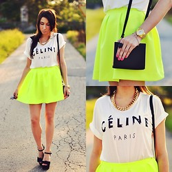 Pam S - Choies T Shirt, Choies Bag - Neon skirt