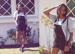 Candace P. - Thrifted Overalls, Tobi Cut Out Boots - Breezeblocks.