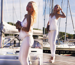 Elin Hansson - White Jeans, Estradeur, White Top, White Heels, H&M Gold Bracelet, H&M Gold Bag, Old Pearls', Make Up Store Lipstick & Lippencil - ♡ S U M M E R S N O W ♡