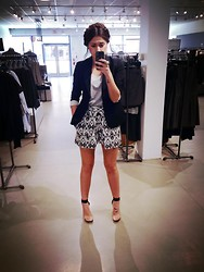 Kayla Castro - Theory Blazer, Theory Grey Tank, Theory Skort, Jeffrey Campbell Soiree Heels, Yves Saint Laurent Arty Ring - Work hard. Play harder.