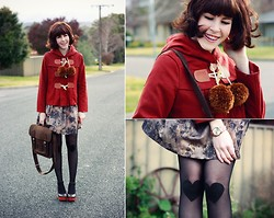 Sushi Girl - Gorman Charlotte Duffle Jacket, Modcloth Floral Dress, Chic Wish Felt Satchel, Modcloth Heart Patch Knee Tights, Gorman Mary Wooden Wedges, Sportsgirl Rose Gold Watch - Knee patches & pom poms
