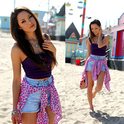 Jessica R. - Windsor Store Purple Crop Top, Spikes And Seams Distressed High Waist Shorts, Gap Boyfriend Shirt - 80's Baby