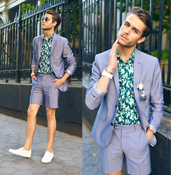 Adam Gallagher - Different Color Here  > Suit, Similar Here  > Lucite Frames, Acne Studios Slip Ons, Tko Watch - Summer Suit