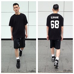 YU WEILO - Hypebeast Store Black Jersey, Methadones Black Leather Shorts, Nike Basketball Shoes - 68 IN BLACK