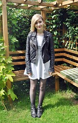 Cara E - H&M White Dress, Topshop Leather Jacket, Topshop Cut Out Boots - CROWN ON THE GROUND