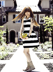 Kate C - Forever 21 Striped Fit & Flare Dress, Bcbg Bcbgeneration, Cathy Jean Combat Booties - Striped & flare