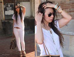 Samantha S - Lna Tee, Joe's Jeans, Steve Madden Wedges, Ray Ban Rayban Sunglasses - White Out