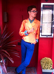Jake Gonnella - Orange Red Shiny Back Tie Blazer, Jack Wills Turquoise Purple Plaid Button Down, Levi's® Deep Blue Skinny Jeans, Black Leather Beatle Boots, Vintage Tribal Metal Charm - Cymbaline