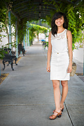 Katrina M. - Zara Top, American Apparel Pencil Skirt, Miz Mooz Clogs - White days