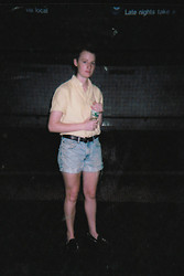Jane Robertson - Ralph Lauren Button Up Shirt, Levi's® Shortz, Unif Hellraisers, Poland Springs Water Bottle - Stay hydrated ...