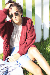 Austin Sullivan - Urban Outfitters Sunglasses, French Connection Uk Deer Skull Tee, Vintage Maroon Cardigan, American Apparel Kool Shorts, American Apparel Denim Bag - Summer haze