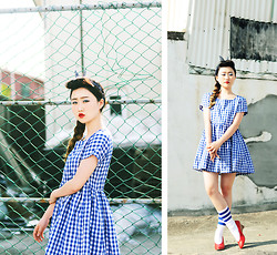 Autumn Kim - Phila Petra Gingham Check Dress, American Apparel Stripe Calf High Sock - Pin-up of summer.