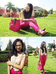 Andita Luan - Zara Pink Jeans, Hermës Bags, Floral Tops, Vicari Wedges Flowers Pink, Calvin Klein Watches - The Beauty of Flowers Pink