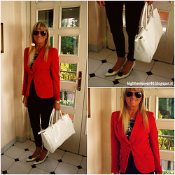 "Paola N. - Ray Ban Sunglasses, Pieces Black Pants, Zara Black T Shirt, Giorgio Armani Vintage Red Jacket - Simply Red  follow me on Instagram ""Paolettanico"""
