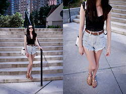 Michelle Cristiana - Free People Lace Cropped Top, Unif Reaper Cutoffs - Reaper