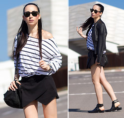 WOWS . - Choies Striped Tee, Choies Black Skorts, Choies Leather Pointed Slippers - STRIPES & BLACK SKORTS