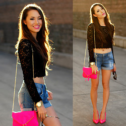 Jessica R. - Dailylook Black Lace Crop Top, Bebe Boyfriend Shorts, Citizen Mod Pink Bag, Shoedazzle Pink Heels - Pink Pops