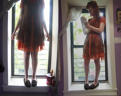 Petite Mädchen - Thrifted Orange Dress, Old Dance Costume Brown Sheer Dress, Target Ratty Loafers - Ghosts Filled My Head With Such Rotten Things