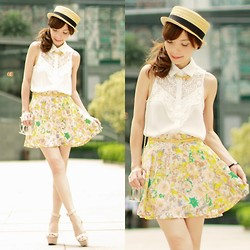Prisca E. - Sheinside White Sleeveless Lace Front Shirt, Ianywear Yellow Floral Skirt, Choies Clear Perspex Clutch, Zara Nude Wedges, Boater Hat, Candy Colours Necklace - Summer Blossom
