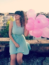 Roxana Ifrim - Mint Pleated Dress, Crystal Necklace, New Yorker Kitty Flats - Child's play!